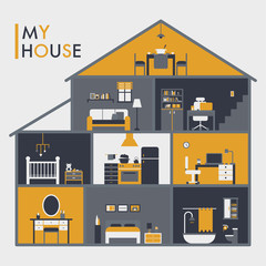 Each room in the cross section of the house. vector flat design illustration set