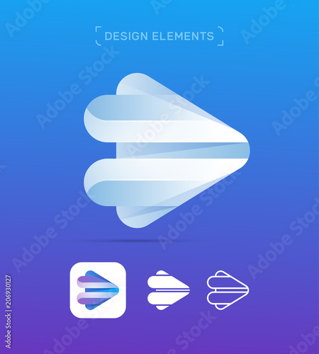 Vector abstract play button logo template  Material design, origami