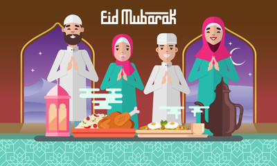 Eid Mubarak greeting card in flat style vector illustration with moslem family feasts, plentiful food and lantern..