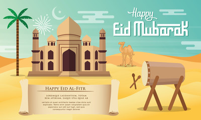 Eid Mubarak greeting card in flat style vector illustration with mosque, palm tree, camel, drum and desert..