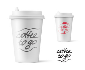Realistic blank mock up paper cup with plastic lid. Coffee to go, take out mug. Vector illustration isolated and can be use for any backgrounds. EPS10.