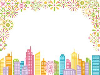 花火とビル街の風景
