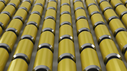 Raws of yellow soda cans