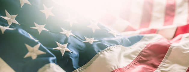 Close-up banner of american flag stars and stripes