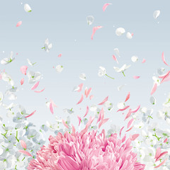 Flying petals vector  horizontal seamless background