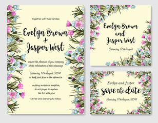 Set of card with pink and blue wax flowers (chamelaucium), leaves. Wedding ornament concept. Floral poster, invite. Vector greeting card or invitation design background