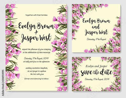 Rustic wedding set with pink wax flowers chamelaucium wedding rustic wedding set with pink wax flowers chamelaucium wedding invitation save the stopboris Image collections