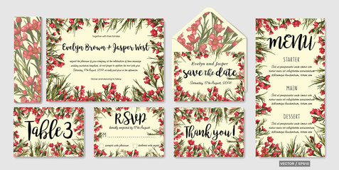 set of wedding invitation templates with leaves and wax flowers and place for text. Save the date, thank you, rsvp, love