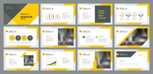 template presentation design and page layout design for brochure ,book , magazine,annual report and company profile , with info graphic elements design Wall mural