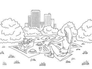 Picnic basket graphic black white park landscape sketch illustration vector