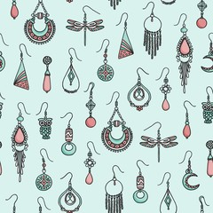 Colorful seamless pattern with hand drawn earrings