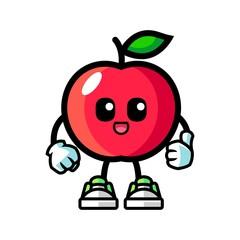 Apple give thumbs up mascot cartoon illustration