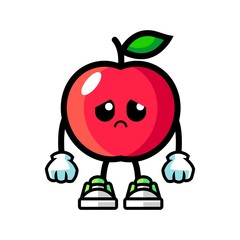 Apple sad mascot cartoon illustration