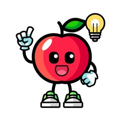 Apple get the idea mascot cartoon illustration