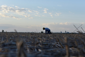 Cotton farmer Drew Malchoff checks the moisture in a field to see if it's ready for planting near Wakita, Oklahoma