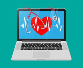 Laptop, heart shape with pulse line, stethoscope