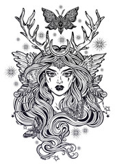 Shaman elf magic woman with deer antlers and long hair, nightn moths and butterflies.