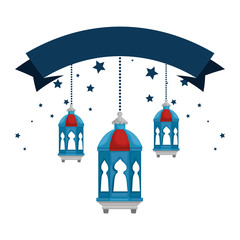 lamps and ribbon decoration ramadan kareem celebration vector illustration