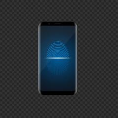 Smartphone with fingerprint scan