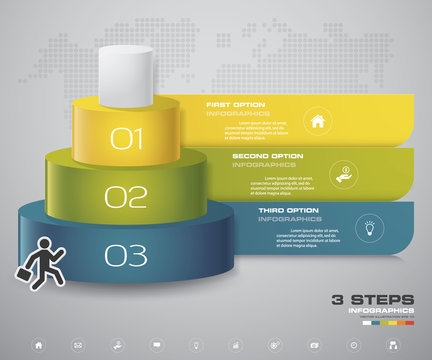 3 steps layers diagram. Simple&Editable abstract design element. EPS10.
