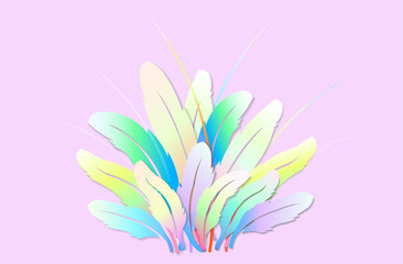 Colorful feathers Artwork for the festival - Vector illustration