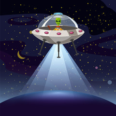 Ufo poster. Flying saucer, alien, sartoon style, vector illustration