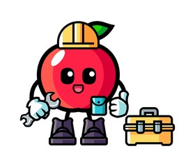 Apple handyman mascot cartoon illustration