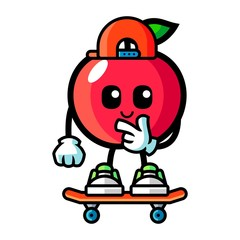 Apple play skateboard mascot cartoon illustration