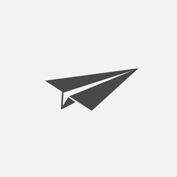 Paper airplane line vector icon