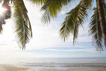 Beautiful beach view of nice with tropical beach landscape background - Concept Tropical summer vacation holidays