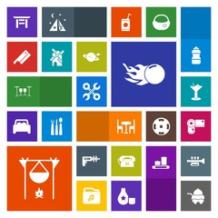 Modern, simple, colorful vector icon set with camera, astronomy, wind, war, phone, sign, service, bonfire, torii, science, shrine, furniture, alcohol, industrial, room, glass, tool, japanese icons