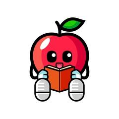 Apple reading a book mascot cartoon illustration