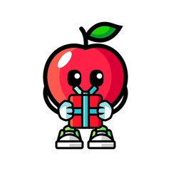 Apple give a gift mascot cartoon illustration