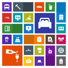 Modern, simple, colorful vector icon set with transport, snack, bus, casette, drink, music, fashion, car, computer, sign, transportation, style, wine, red, alcohol, hipster, play, glass, star icons