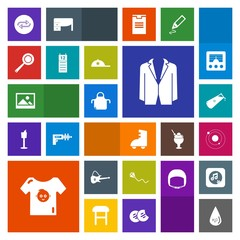 Modern, simple, colorful vector icon set with sport, sky, apron, substitute, fun, kitchen, picture, food, business, summer, roller, joy, chemistry, musical, skating, white, clothes, child, art icons