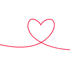 Heart in continuous drawing lines. Continuous black line. The work of flat design. Symbol of love and tenderness