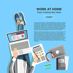 Work at home office business banner. Top view man with headphones, laptop and business reports. Self-employed person in home workspace, online e-commerce, internet freelancing vector illustration.