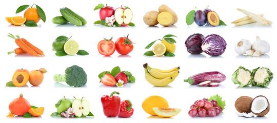 Wall Mural - Obst und Gemüse Früchte viele Apfel Tomaten Orangen Knoblauch Weintrauben Farben Freisteller freigestellt isoliert