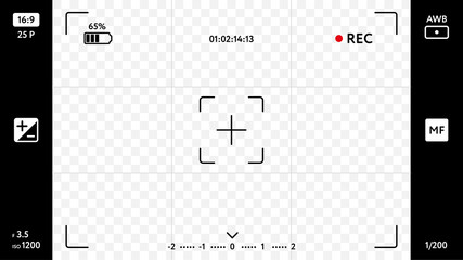 Modern smart phone camera focusing screen on transparent background. Blank camera viewfinder grid with exposure, zoom zone and shooting settings. Realistic template for your design vector illustration