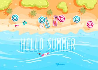 People swim and sunbathe.
