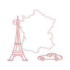 Map of France, tower, car.