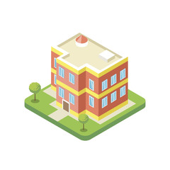 Apartment building isometric 3D icon. City real estate element, property quarter, urban architecture vector illustration.