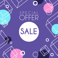 Sale special offer banner template design, seasonal discount, advertising poster with geometric shapes vector Illustration