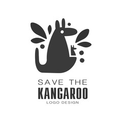Save the kangaroo logo design, protection of wild animal black and white sign vector Illustrations on a white background