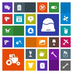 Modern, simple, colorful vector icon set with tool, spanner, aircraft, headwear, drink, horse, photo, toy, first, hairdryer, casino, achievement, field, airplane, kitchen, clothing, add, flight icons