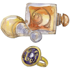 Perfume and ring sketch fashion glamour illustration in a watercolor style isolated. Aquarelle fashion sketch for background, texture, wrapper pattern, frame or border.