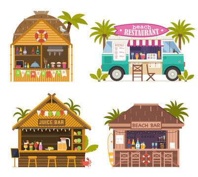 Beach juice bars with smoothies, soft drinks and refreshing beverages. Beach restaurants and food truck sailing fruit shakes, ice-cream and cocktails. Tropical tiki bar hut, bungalows on ocean coast.