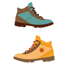 Tourist hiking boots icon. Trekking shoes vector. Outdoor activity man footwear isolated on white background