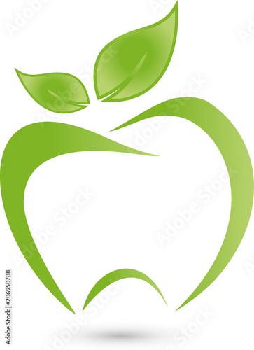 Zahn, Apfel, Zahnpflege, Frucht, Essensberatung, Logo\