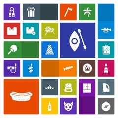 Modern, simple, colorful vector icon set with river, traffic, meat, tennis, plane, school, airplane, shirt, departure, person, hotdog, training, music, presentation, water, travel, compass, bag icons